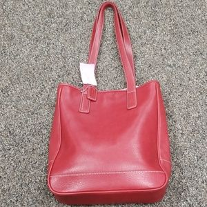 Coach 7776 red leather vintage tote small